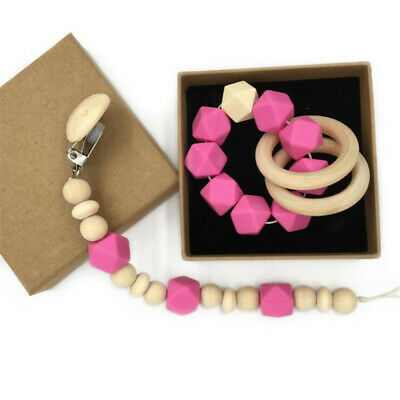 Baby Boy Girl Dummy Clip Chain Pacifier Teething Soother Wooden Toy Beads ChainG