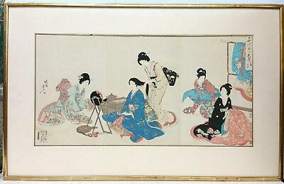 Japanese Woodblock Print Triptych Signed W/ Seal Marks