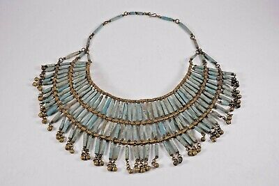 Art Deco Era Egyptian Revival Turquoise Faience Bead and Brass Necklace