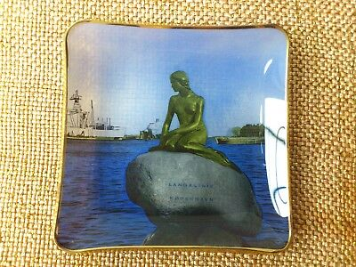 Lovely Danish souvenir ashtray gold rimmed with image of The Little Mermaid.