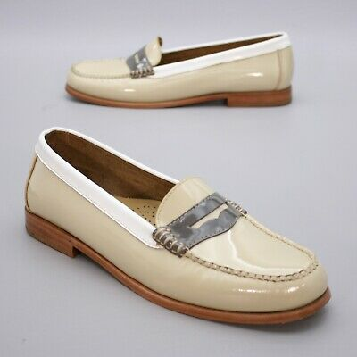 c536e6a076280 GH Bass Weejuns Ladies 11 Wayfarer P Tan Gray White Slip-on Penny Loafers