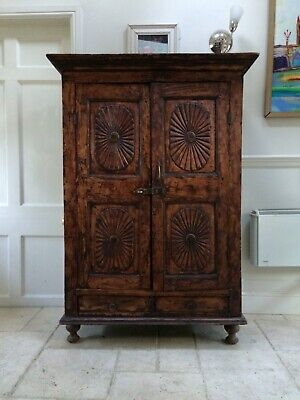 Rustic Antique Indian C18th Hardwood Armoire Hall Cupboard TV Cabinet