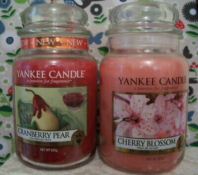Yankee Candles X2 Cranberry Pear & Cherry Blossom Large Jars Unused