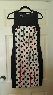 J Argidda size 38 black and white polka dot dress with pink ribbon stripes