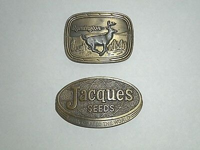 LOT of 2 Vintage Brass  Belt Buckles- Remington & Jacques Seed