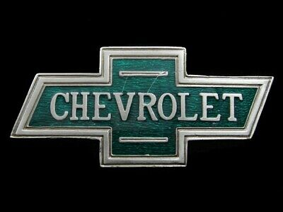 RK11118 VINTAGE 1970s **CHEVROLET** BOW-TIE LOGO ADVERTISEMENT BELT BUCKLE