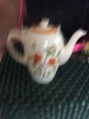 """Stangl Pottery Bittersweet 8.5"""" Coffee Tea Pot Orange Green Floral Hand Painted"""