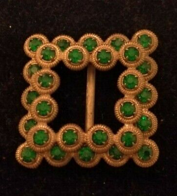 From private collection- Eastern European gilt and green paste stone buckle