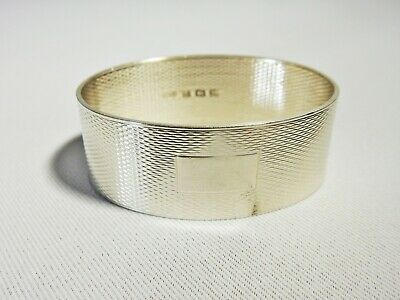 Stunning Antique Art Deco 1946 Sterling Solid Silver Napkin Ring Engine Turned