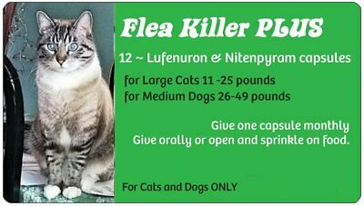 Spring Blowout Sale ~Flea Killer PLUS for Cats over 11 lbs~12 Green Monthly Caps
