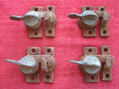4 Antique Cast Iron & Brass Eastlake Window Sash Locks Latches & Keepers