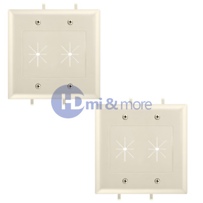 2x Wall Plate With Flexible Opening Cable Plate 2 Gang Lite Almond