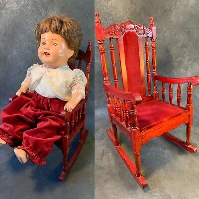 Large Baby Doll Rocking Chair Wood Ornate Red Stained 20""