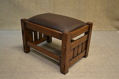 Crafters and Weavers Mission Oak Footstool Craftsman Style Ottoman Foot Stool