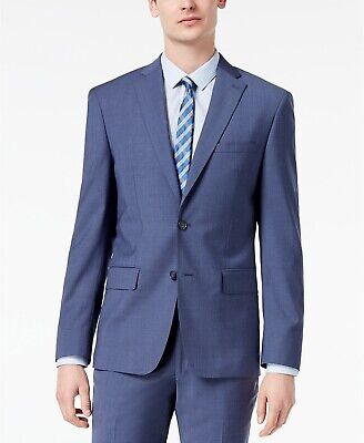 $650 Dkny 38r Men'S Blue Modern Fit Wool Blazer Sport Neat Grid Suit Coat Jacket