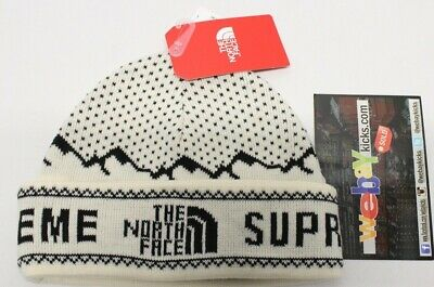 Supreme New York The North Face TNF White Black Fold Beanie Hat FW18BN1 New