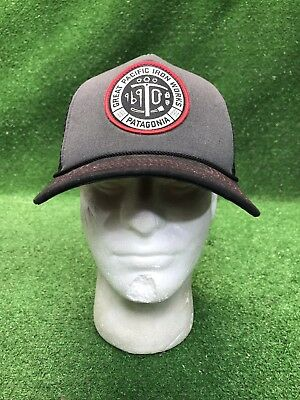 cc299633fef72 Rare PATAGONIA Great Pacific Iron Works Black Gray Trucker Hat Cap Snap  Back Wow