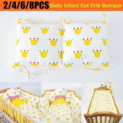 2/4/6/8PCS Baby Infant Cot Crib Bumper Toddler Nursery Bedding Safety Protector