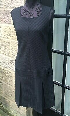 5834608d250 LADIES GEORGE BLACK Grey Pinstripe Pinafore Dress With Pleats Size ...