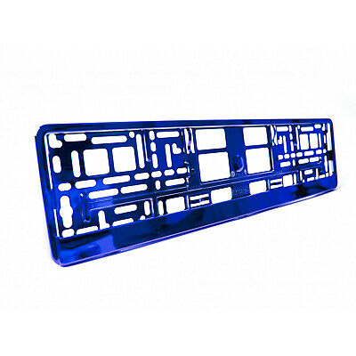2 x Blue Metallic Universal ABS Number Plate Surrounds Holders Frames M