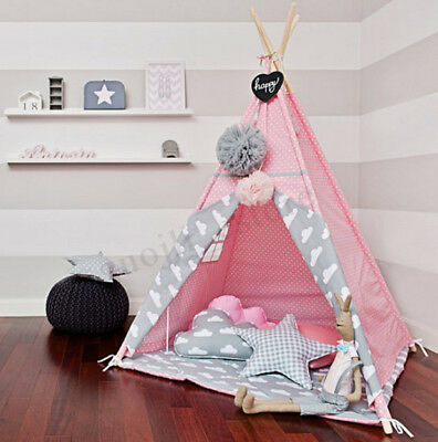 120x120x150cm Pink Canvas Kids Teepee Children Home Game Toy Play Tent Playhouse