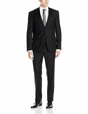 DKNY Men's Single Breasted, Two Button Notch Lapel Slim Fit Suit, Black, 36R/29W