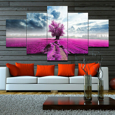 Unframed Canvas Print Painting Wall Art Modern Purple Lavender Scenery Home Deco