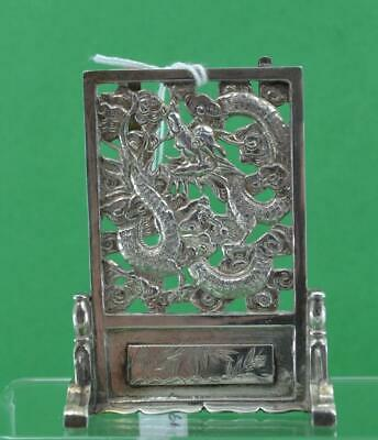 Antique Chinese Export Silver Dragon Screen Menu Holder character mark Cum Wo