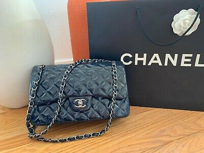 2acf43f36dba Chanel 14B Grey Blue Quilted Caviar Leather Jumbo Double Flap Bag Full Set  RARE
