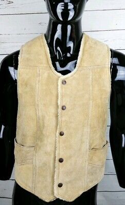 Vintage Industrias ZAMHER Suede Leather Sherpa Lined Vest Men's Size Small
