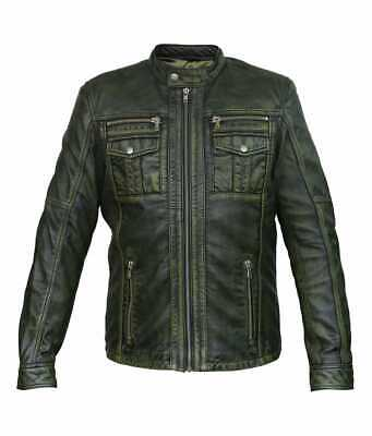 Mens,Real,Leather,SlimFit,Motorbike,Jacket,NEW STYLE,Quality,Racing,TOP Selling(