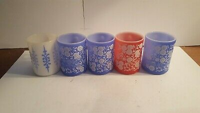 Vintage Federal Glass Red Blue White Flowers Coffee Cup Mug Milk Glass
