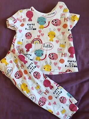 Baby Girls Mothercare 3-6 Months Cute As A Button Bunny Rabbit Outfit