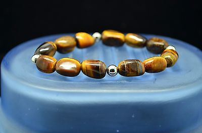 """Silver Plated Beautiful Tiger's Eye 6"""" Large Beaded Bracelet #X-16861"""