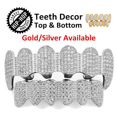 AU Hip Hop Teeth Caps Gold Silver Diamond Plated Tooth Grills Top & Bottom Set