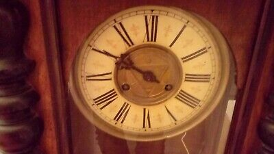 Antique Vienna Wall Clock Key Wind Up In Dark Wood With 1/2 Hour Chime.