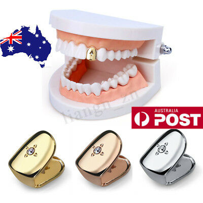 Hip Hop Single Diamond Plated Tooth Cap Grill Classic Teeth Grills Men Mouth AU