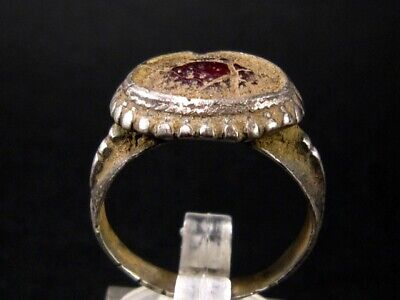 IMPOSING BYZANTINE LARGE SILVER RING  w/ RED GLASS STONE+++