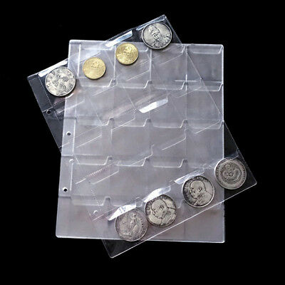 10x Pages 20 Pockets Plastic Coin Holders Storage Collection Money Album Case