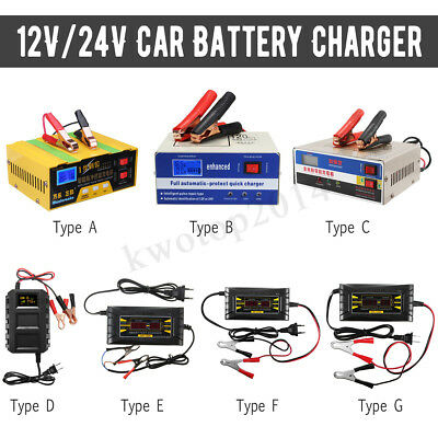 12V/24V Auto Motorcycle Car Battery Charger Pulse Repair Lead Acid Power