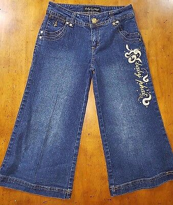 Baby Phat Girlz Girls Denim Jeans embroidered Cropped Capri Size 12