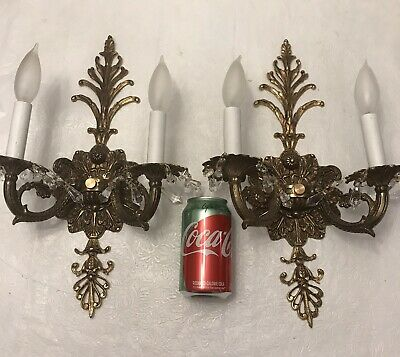 """pair of 2 antique Victorian ornate brass electric wall sconces 2 Lights 16x10"""""""