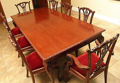 CHIPPENDALE MAHOGANY DINING room set.. Table w/8 Chairs ...