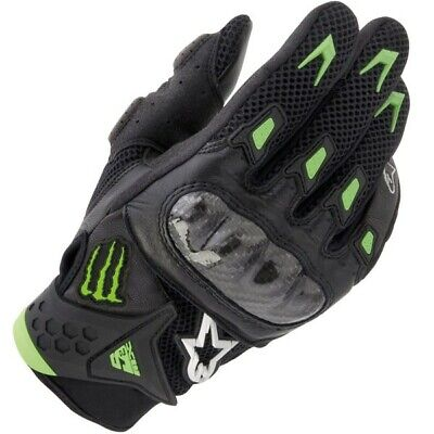 Alpinestars M10 Air Carbon Leather Glove Black / Green Size XL Motorcycle