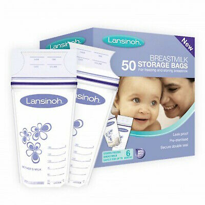 Lansinoh Pre Sterilized Breast Milk Storage Bags 50 Pack - Freezer Safe