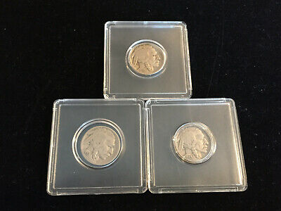 4-Legged Buffalo Nickels X 3: 1935-P and TWO 1937-P / Clear Dates! VF-EF?