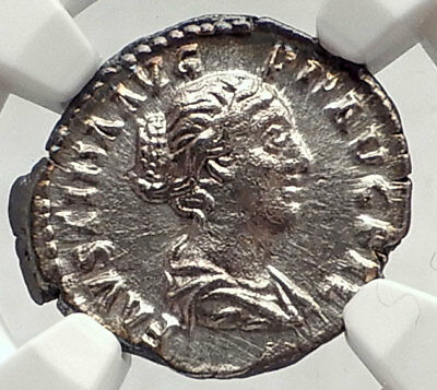 FAUSTINA II Jr Marcus Aurelius Wife 154AD Silver Roman Coin CONCORDIA NGC i73035