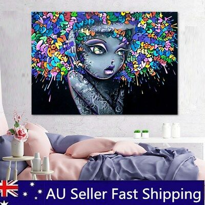 Girl Hair Abstract Canvas Painting Street Art Graffiti Wall  Home Decor Unframed