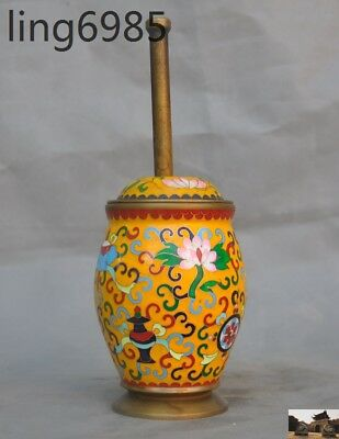 Antique Heavy bronze Cloisonne Apothecary Mortar & Pestle Drug Pharmacy Medicine