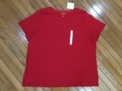 0d196dfb92df81 NWT CROFT   BARROW Women s Red Classic Tee T-shirt Top Blouse Size 3X New